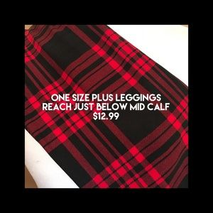 Buttery soft leggings- red and black plaid